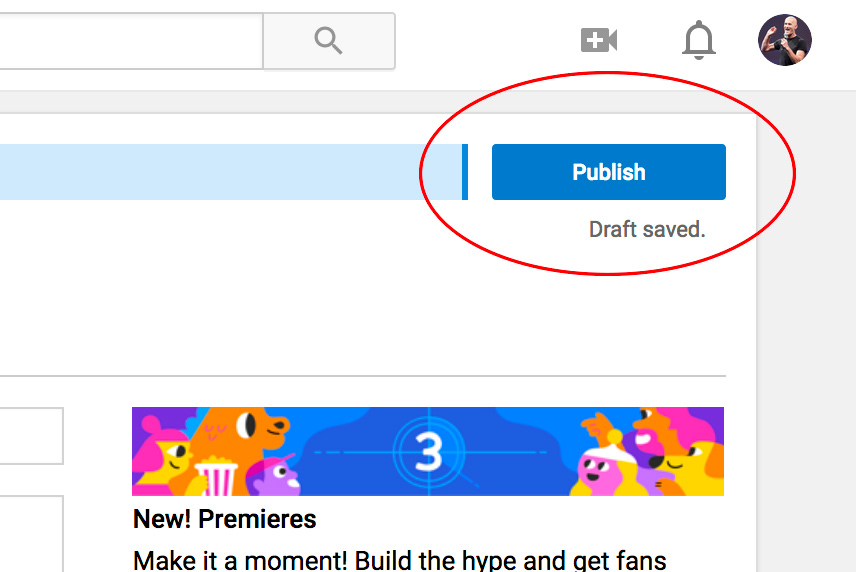 YouTube publish button